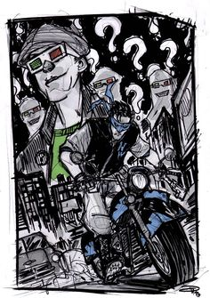 Nightwing and The Riddler - Rockabilly Universe by DenisM79.deviantart.com on @deviantART