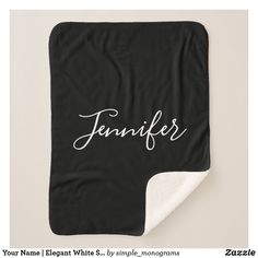 Your Name | Elegant White Script on Black Sherpa Blanket Script Lettering, Calligraphy, Chart Design, Edge Stitch, Blanket Sizes, Cozy Blankets, Keep It Cleaner, Hand Sewing, Shop Now