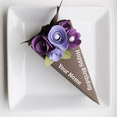 Image of PAPER Chocolate cake slice favor box with two toned purple flowers slice} Chocolate Slice, Chocolate Pastry, Wedding Favors, Party Favors, Wedding Cake, Wedding Ideas, Favours, Wedding Bouquet, Wedding Decor