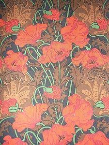 """Vintage 1970's Liberty of London """"Clementina"""" Art Nouveau Poppy Cotton Fabric"""