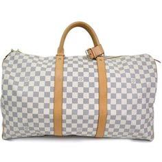 Pre-owned Louis Vuitton Keepall 50 Damier Azur Duffel Bag