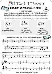 Škola hry na zobcovou flétnu zdarma - lekce 39. Sheet Music, Music Sheets
