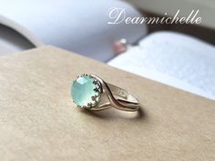 Natural Faceted AAA Aqua Chalcedony Ring Sea Foam by DearMichelle