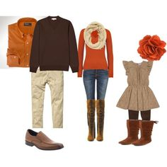 Fall clothing for family photo shoot. - Not sure if I'm liking the orange/brown more or the dark purples and blue....