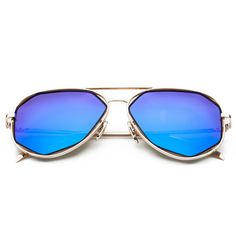 CHB Women's HD Mirrored Creative Irregular Lens Aviator Metal Frame Street Fashion Designer Polarized Sunglasses UV400 with Case-Gold(blue lens) - $18.98 : www.chb.us.com