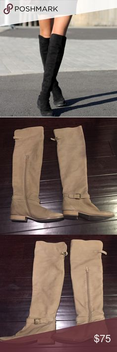 Zara tan soft suede over the knee boots sz 39, 8.5 Hi this boot is from Zara, it's no longer sold. It's a soft suede the color of a light tan. Has buckles at the ankles and at the back of the knee. Has a zipper at the calf area. Has never been worn by me, and still has a lot of life left. Looks worn once, almost brand new. It's a size 39, or 8-8.5. It's an over the knee boot. Perfect for winter! I have 2 other Zara boots for sale. Zara Shoes Over the Knee Boots