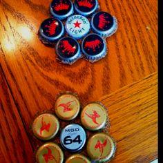 Beer bottle tops coasters :) love them!