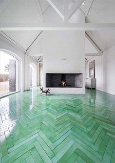 Heringbone marble floor.