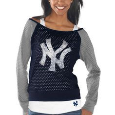New York Yankees Womens Holy Long Sleeve T-Shirt and Tank Top - Navy Blue