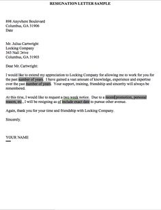 Resignation Letter 2 Week Notice - http://resumesdesign.com/resignation-