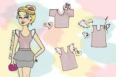 Customização Ilustrada - camiseta com rendas