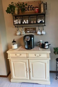 coffee corner 11 Adorable DIY Coffee Bar Ideas For Your Cozy Home - architecturian Coffee Nook, Coffee Bar Home, Coffee Corner, Coffee Maker, Coffe Bar, Coffee Machine, House Coffee, Coffee Time, Coffee Bar Station