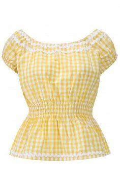 Lindy Bop Caterina Yellow Top
