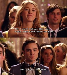 This was a great GG moment. I'm so glad that Chuck & Blair had their happy ending.