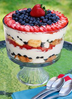 Red, White and Blueberry Trifle dessert recipe. 4th of July dessert - oh yeah!