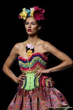 inspired by Frida Kahlo, Maya Hansen Sonia Delaunay, Diego Rivera, Boho Gypsy, Strapless Dress, Prom Dresses, Floral Headpiece, Mexican Style, Flower Fashion, Vogue Paris