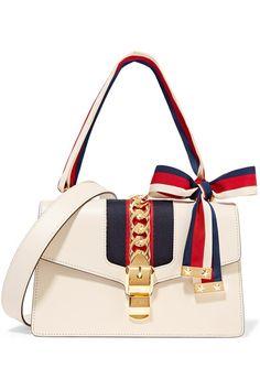 Gucci Sylvie medium canvas-paneled leather shoulder bag