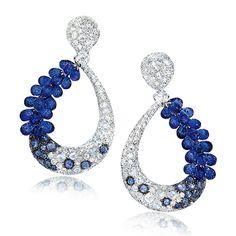 Cellini Jewelers Blue Sapphire Briolette and Diamond Drop Earrings