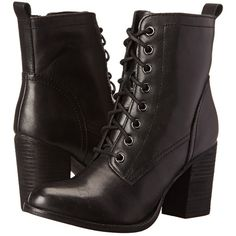Steve Madden Lauuren (Black Leather) Women's Dress Lace-up Boots ($78) ❤ liked on Polyvore featuring shoes, boots, ankle boots, black, short leather boots, high heel ankle boots, lace-up ankle boots, black leather bootie and lace up high heel boots
