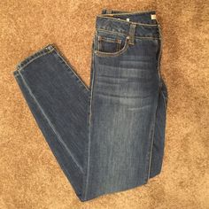 CAbi Ruby Jeans Dark wash with fade, skinny jeans. Never been worn! CAbi Jeans Skinny