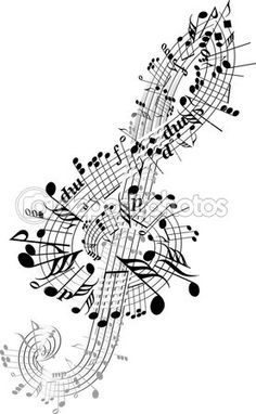 Music notes twisted into Clef — Stock Illustration #3189831