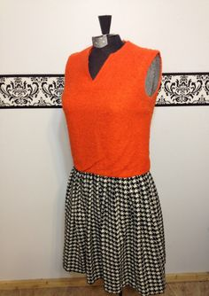 1960's Orange Wool and Pleated Hounds tooth Mod by RetrosaurusRex