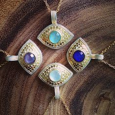 All Eyes On You #ThrowbackThursday #Necklaces #ABExclusive #EvilEye #Lapis #Amethyst #MotherOfPearl #Jewelry #Gold #Handmade #AnnaBeck