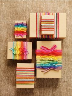 gift wrap ideas \ cool mom picks \ colored yarn