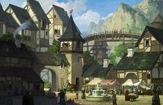 village mountain illust artstation fantasy jiwon version farm anime places
