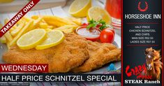 Takeaway Wednesday Price Schnitzel Special @ The Crazy Horse Steak Ranch - Horseshoe Inn Chicken Schnitzel, Crazy Horse, Portal, Wednesday, Ranch, Steak, Campaign, Chips, Events