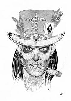 Billedresultat for samedi drawing Grunge Art, Badass Drawings, Sketches, Drawings, Doctor Tattoo, Dark Tattoo, Dinosaur Tattoos, Voodoo Tattoo, Baron Samedi