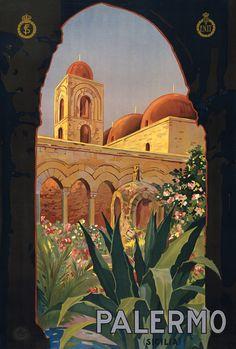 Palermo (Sicilia). Italian vintage travel poster, ca. 1920. Ente Nazionale per le Industrie   Turistiche.