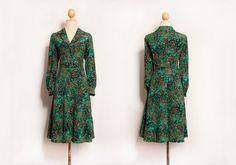 Green dress   Floral dress   Long dress   Japanese dress   Splash print dress   Retro dress   Party dress   Evening dress   50s 60s 70s 80s by VintageCosmopolitan on Etsy