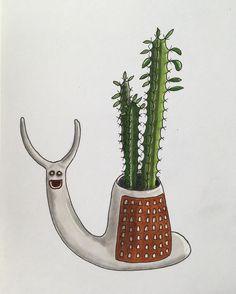 46 vind-ik-leuks, 3 reacties - Illustrator and plant nerd ♡♡ (@drawingplantlady) op Instagram: 'Euphorbia in snailplanter . Inspired by the most cutest snailplanter @plantshapes '