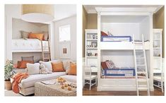 Love the bunk beds built into the wall on the left...super cute!