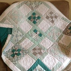 Made from half a jelly roll with extra for the background and contrast reverse. Last bit of quilting for a while from the sewing group as we get into the full swing of our Christmas makes. #handmade #sewing #designer #quilt #patchwork #unique #quilting #cotton #duckegg #teal #cosy #proudteacher #sewingbee