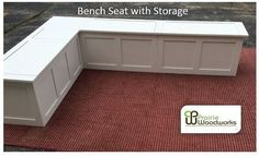 Corner Bench with storage beneath seating. With German made, tension adjustable, lid stays to protect those small fingers. Great space saver.