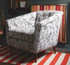 DwellStudio: Turner Chair in Robert Allen Vintage Blossom Dove with Draper Stripe Persimmon Rug