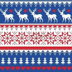 Nordic seamless pattern with deer and christmas trees photo