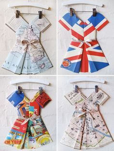 folded paper dresses