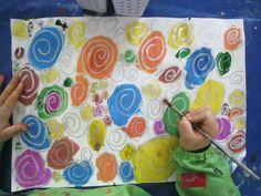 spirales mises en couleur à l'encre