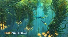 concept art for the kelp forest biome in subnautica, i like the way the kelp has been shown blocking out the sun and the small amount of sun shafts create low light areas that make the area look eerie and mysterious. the interspersing kelp pods show off a ghostly light which creates an interesting ambience to the area.