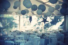 decoration mariage - ciel en boules de papier