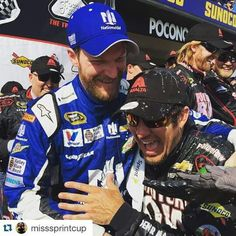 Mark Truex Jr and Dale Earnhardt Jr congratulate  mark after his Pocono win