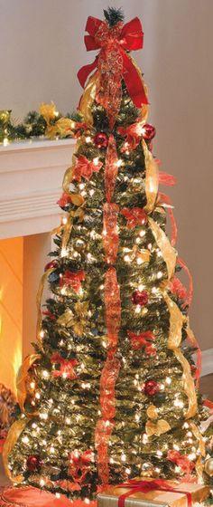 2013 prelit christmas trees, 2013 Best Prelit Artificial Christmas Tree, Red Ribbon decor on Christmas tree