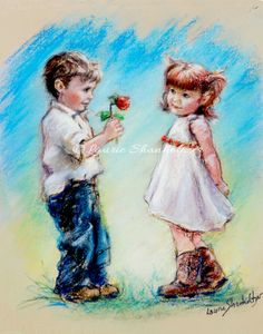 """Price starting at $18 ...""""LOVE YOU"""" Laurie Shanholtzer,couple, sweethearts, romantic, canvas or paper prints,~ This shy little guy is presenting his 'not so fresh"""" rose to his sweetheart. And how can he resist the cutie with her coy little smile. ~"""