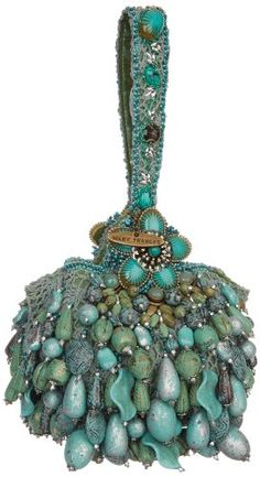 Mary Frances 1892 Patina Wristlet,Turquoise, - I love this idea! Vintage Clutch, Vintage Purses, Vintage Bags, Vintage Handbags, Mary Frances Purses, Mary Frances Handbags, Beaded Purses, Beaded Bags, Beautiful Handbags