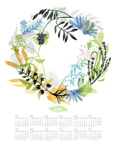 2015 Health Wreath Wall Calendar от KatieVernon на Etsy