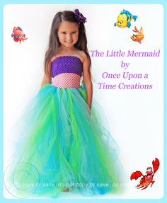 The Little Mermaid Inspired Princess Tutu Dress - Birthday Outfit, Photo Prop, Halloween Costume - 12M 2T 3T 4T 5T - Disney Ariel Inspired. $49.99, via Etsy.