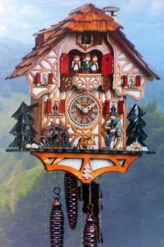 Cuckoo Kingdom - Black Forest House Cuckoo Clock, Moving Wanderer, Dancers and Water Wheel. Black Forest House, Black Forest Germany, Coo Coo Clock, Antique Clocks, Vintage Clocks, Time Clock, Grandfather Clock, Cuckoo Clocks, Antiques